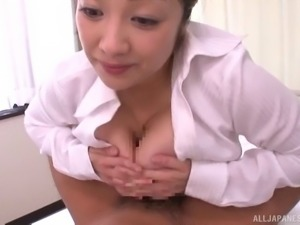 Dirty Japanese nurse giving a tremendous titjob to a patient
