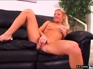 Shaved pussy blonde gets facial cumshot in interracial porn