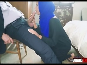 Pretty Arab nympho is sucking my big fat cock with such care and love