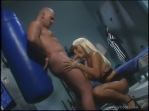 Busty blonde with natural tits awarding her horny guy with blowjob in the gym