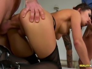 Salacious bitch in sexy lingerie and stockings Nikita Bellucci gets double...