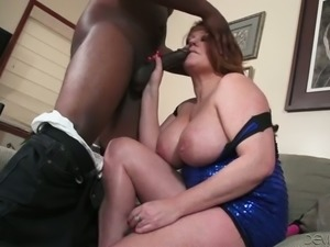 BBW Caucasian granny sucking big black dick deepthroat