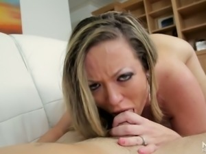 Horny mild Carmen Valentina gives crazy blowjob to one well endowed young dude