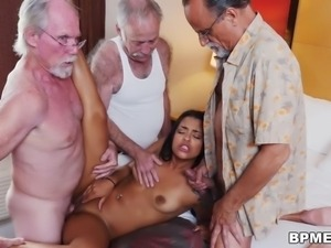 Nikki Kay Enjoys Gangbang with Old Men