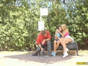 Nice ass lesbian in shorts enjoying ass fingering in public