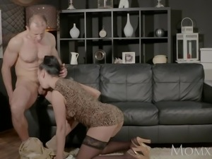 MOM Big tits Milf gives deep blow job before getting hard fuck