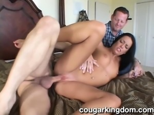 Sultry brunette wife with lovely boobs gets nailed by a hung stranger