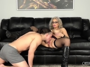 Sultry blonde fucks a big dick and takes a hot load on her huge boobs