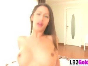 Brunette busty tranny riding cock sucks anal