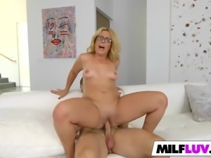 Nerdy MILF Fucks With A Younger Guy
