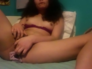 Amazing raven haired nympho with natural tits was fingering her slit