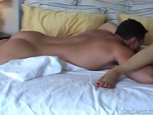 Remarkable brunette with a nice ass in a sexy thong gets a wild dick ride...