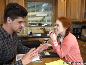 Sexy redhead Dolly was forbidden from dating her boyfriend by her father, but...