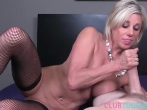 Busty stockinged milf tugging pov cock