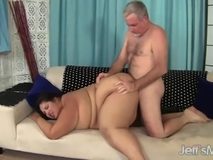 Big fat girl fucked and eats cum