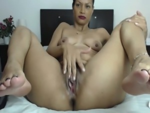 Awesome happy and horn-mad brunette MILF with oiled rounded butt went solo