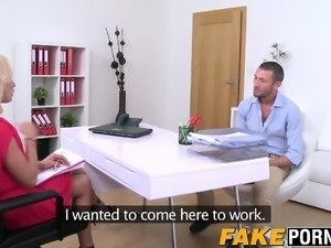 Sexy blonde casting agent tries out one fresh new schlong