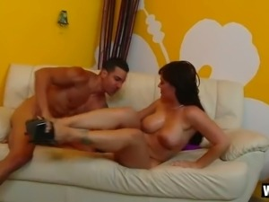 Kinky man fucks yummy dark haired bitch Claire Dames in cowgirl and reverse...