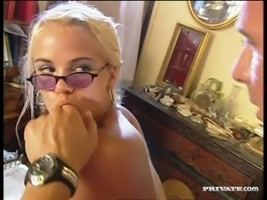 Four eyed temptress Sandy Style loves a good hard fuck