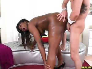 Piercings chocolate with phat bottom and trimmed muff is horny as fuck with...