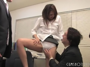 Young Office Slut Pleasing Two Guys
