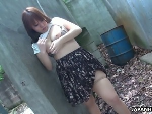 Beautiful and curious redhead Asian teen watches sex on the street and...