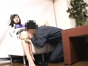 Elegant Japanese chick with sexy legs confesses her passion