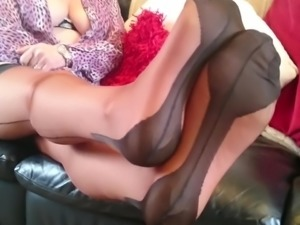 Teasing in my Copper nylons and tights