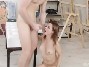 Redhead white hottie eats dick and fucks her young friend