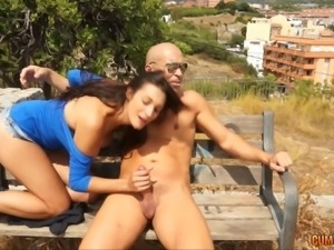 Slut gives a quick public BJ and it turns her on