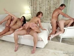 Wanton trio of top notch ladies get shagged in group sex video