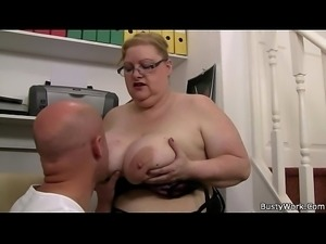 Plump massive boobs secretary rides boss cock