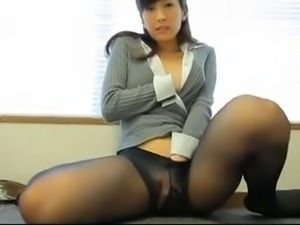 Girls Anna of CS broadcasting stations of black pantyhose