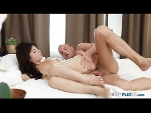 DirtyFlixHD Guy fucks tight brunette in the ass and cums over her face