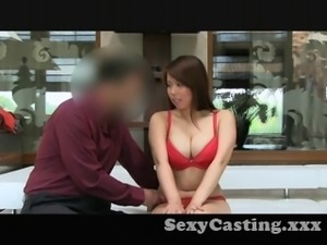Casting Posh Japanese girl's got big tits