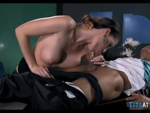 Big Tit Brunette Cougar at work