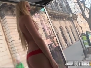 BoxTruckSex - Blonde gets a facial then she swallows cumshot