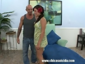 Latina Alexa Nicole casting gets hammered by big bald guy