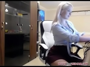Blonde strip tease chat from office