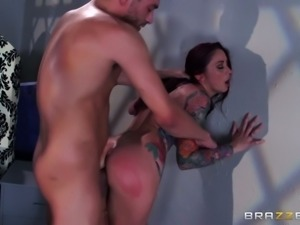 Heavily tattooed redhead MILF gets anal banged from behind rough