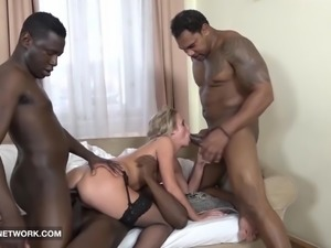 Face Fucked Deepthroat Cum Lick Swallow Blonde Interracial