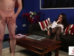 Stockinged english voyeur instructs on couch