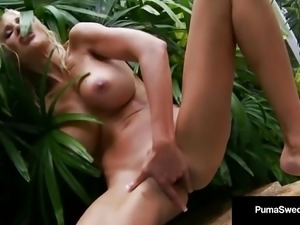 Smokin Blonde Puma Swede Finger Bangs Her Cunt In A Hot Tub!