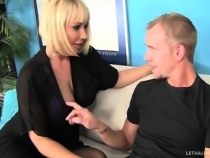 Blond Milf Mellanie Monroe rides her step sons big cock