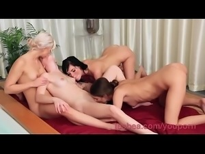DearSX.com - Lesbea Hd Four Teen Girls Worship Their Wet Young Bodies In A