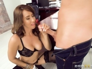 busty brunette gives colleague a titty fuck