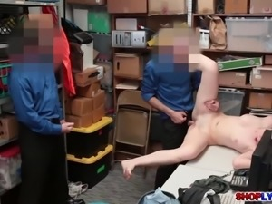 Amateur thief Lexi Lovell bangs with two horny cops