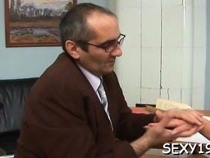 Pleasant cutie gets a wild drilling from horny old teacher