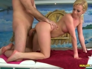Two quite buxom blond heads are awesome cock riders and swingers