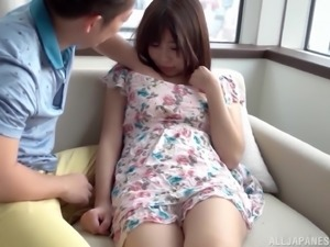 Japanese sweetheart spreads her legs for a nasty lover